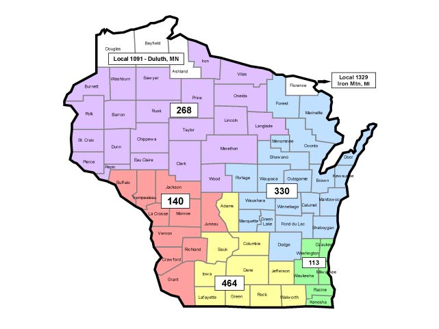 WI Laborer Local Union map